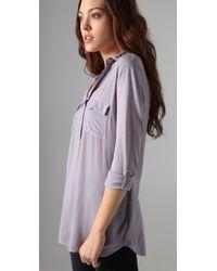 Splendid | Purple Pocket Blouse | Lyst