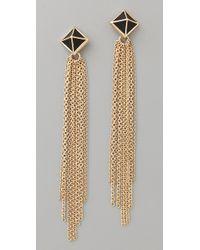 Belle Noel Metallic Black Leather Pyramid Stud Tassel Earrings