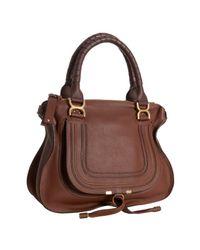 Chloé - Brown Ebony Calfskin Marcie Top Handle Bag - Lyst