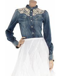 Dolce & Gabbana - Blue Lace Shoulder Denim Shirt - Lyst