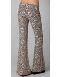Georgie - Gray Ashley Lace Bell Bottom Pants - Lyst