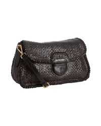 Prada - Brown and Black Woven Leather Madras Shoulder Bag - Lyst