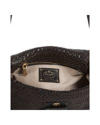 Prada   Brown and Black Woven Leather Madras Shoulder Bag   Lyst