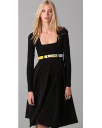 Preen By Thornton Bregazzi - Black Vertigo Belted Stretch-crepe Dress - Lyst