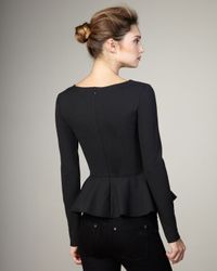 Stella McCartney | Gray Long-sleeve Peplum Top, Charcoal | Lyst