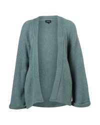 TOPSHOP - Blue Knitted Textured Stitch Cardigan - Lyst