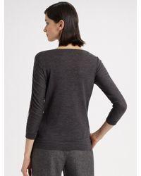 Carolina Herrera - Gray Wool Flannel Wide Leg Pants - Lyst