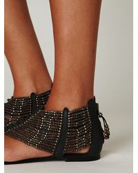 Free People | Black Molly Beaded Sandal | Lyst