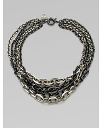 Giles & Brother - Metallic Black Diamond Accented Mulit-row Graduated Chain Link Necklace - Lyst