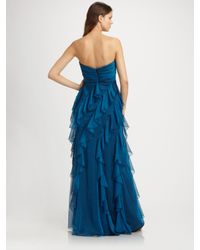 Badgley Mischka | Blue Ruffled Gown | Lyst