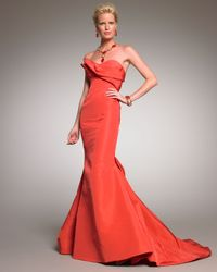Oscar de la Renta   Orange Strapless Mermaid Gown   Lyst