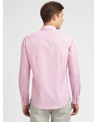 Theory | Pink Cotton Dress Shirt for Men | Lyst