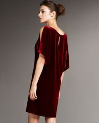 Aidan Mattox - Red Slit-sleeve Velvet Shift Dress - Lyst