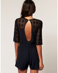 ASOS Collection Yellow Asos Lace Bow Playsuit