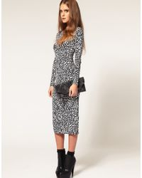 ASOS Collection | Black Asos Bodycon Dress in Yoko Pop Print | Lyst