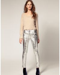 ASOS Collection | Metallic Asos Panel Zip Leather Skinny Trousers | Lyst