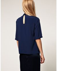 ASOS Collection | Blue Blouse with Side Tie Pussybow | Lyst