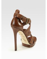 B Brian Atwood - Brown Cordoba Strappy Leather Platform Sandals - Lyst