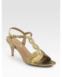 Elie Tahari | Esther Metallic Leather T-strap Sandals | Lyst