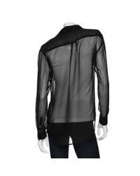 Equipment | Black Oversized Sheer Pocket Shirt | Lyst