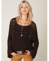 Free People | Brown Open Stitch Sweater | Lyst