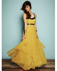 Free People | Yellow Giannas Limited Edition Leather and Lace Gown | Lyst