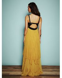 Free People - Yellow Giannas Limited Edition Leather and Lace Gown - Lyst