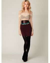 Free People | Purple Stretch Bodycon Mini Skirt | Lyst