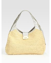 Jimmy Choo | Natural Raffia Hobo Bag | Lyst