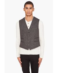 John Varvatos | Black Tweed Four Pocket Vest for Men | Lyst