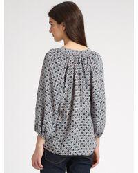 Joie | Green Addie Printed Silk Blouse | Lyst
