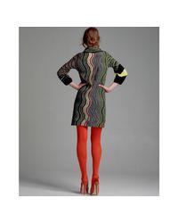 M Missoni | Black Greek Stripe Wool Blend Cowl Neck Dress | Lyst