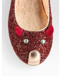 Marc By Marc Jacobs - Metallic Glitter Mouse Leather Ballet Flats - Lyst