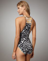Matthew Williamson   Natural Belted Mixed-print Swimsuit   Lyst