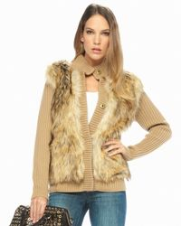 Michael Kors | Natural Faux-fur Cardigan, Dark Camel | Lyst