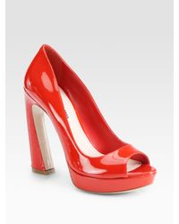 Miu Miu | Patent Leather Peep Toe Flared Heel Pumps | Lyst