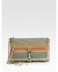 Rebecca Minkoff | Natural Mac Canvas & Ostrich-stamped Leather Convertible Clutch | Lyst