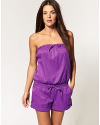 Seafolly | Purple Cotton Playsuit | Lyst