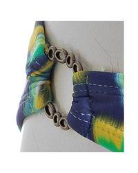 Shoshanna | Green Indigo Balinese Ikat Print Side Ring Bikini Bottom | Lyst
