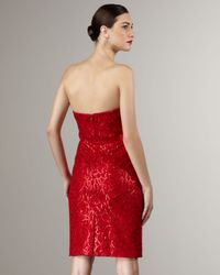 THEIA | Red Strapless Sequin-pattern Dress | Lyst