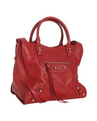 Balenciaga | Red Leather Riva Top Handle Shoulder Bag | Lyst