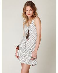 Free People | Gray Plaid Sleeveless Shirt Dress | Lyst