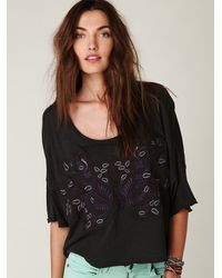 Free People | Black Embroidered Boxy Pullover Tee | Lyst