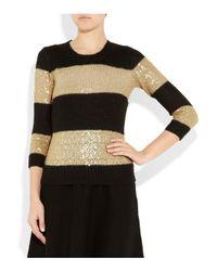 J.Crew   Black Sequinstriped Fineknit Sweater   Lyst