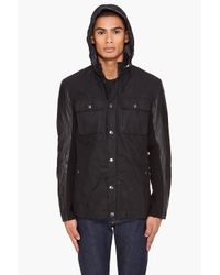 John Varvatos - Black Hooded Jacket for Men - Lyst