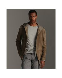 John Varvatos | Natural Light Umber Brushed Suede Hooded Drawstring Jacket for Men | Lyst