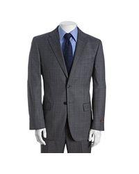 Joseph Abboud | Gray Grey Plaid Super 120s Wool 2-button Suit with Flat Front Pants for Men | Lyst