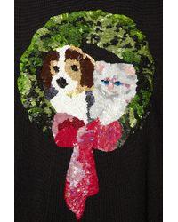 Paul Andrew Black Ring Sequined Merino Wool Sweater