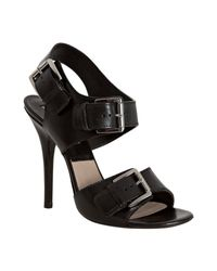 Michael Kors | Black Leather Buckle Detail Heeled Sandals | Lyst