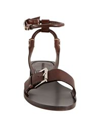 Michael Kors - Brown Leather Buckle Detail Flat Sandals - Lyst